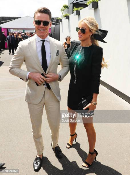 Roxy Jacenko and Oliver Curtis attend on Derby Day at Flemington Racecourse on November 4 2017 in Melbourne Australia