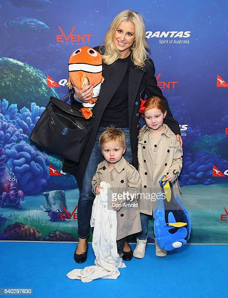Roxy Jacenko and son Hunter Curtis and daughter Pixie Curtis arrive ahead of the Finding Dory Australian Premiere at Event Cinemas George Street on...