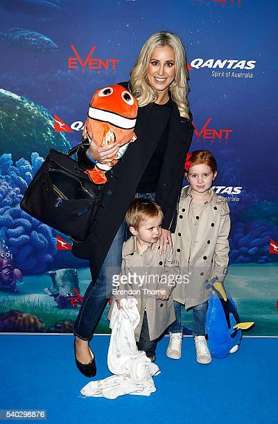 Roxy Jacenko arrives with her children Hunter Curtis and Pixie Curtis arrive ahead of the Finding Dory Australian Premiere at Event Cinemas George...