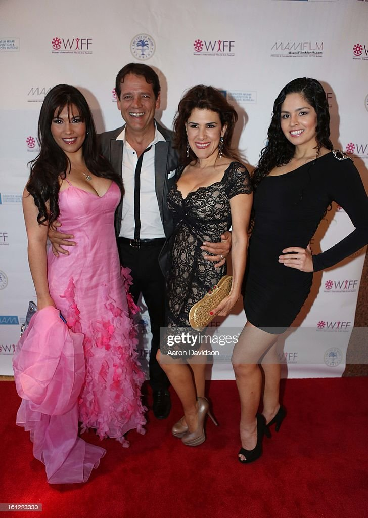 Roxy montenegro, Carlos Garin, Rosalinda Rodriguez and Sara Nunez attend opening night screening of 'Free Angela' during the 2013 Women's International Film and Arts Festival at Adrienne Arsht Center on March 20, 2013 in Miami, Florida.