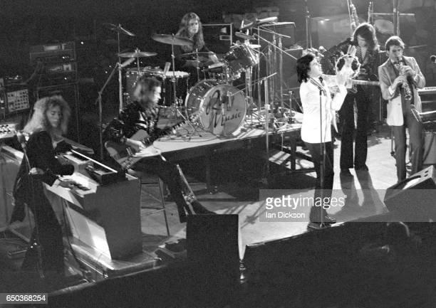Roxy Music perform on stage at De Montfort Hall Leicester United Kingdom 30 October 1973 LR Eddie Jobson Phil Manzanera Paul Thompson Bryan Ferry Sal...