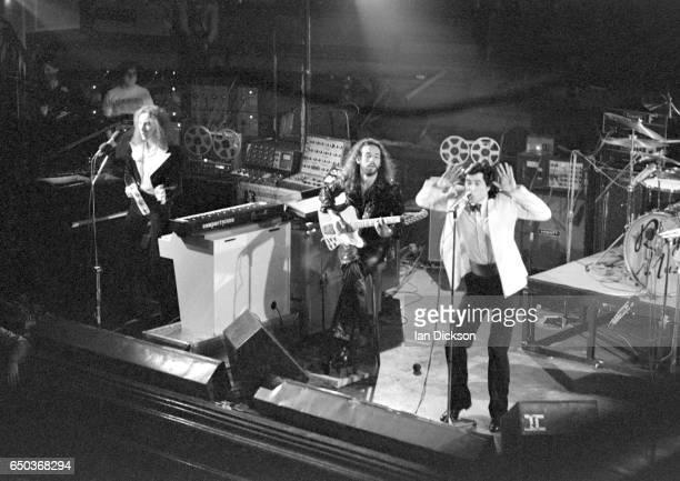 Roxy Music perform on stage at De Montfort Hall Leicester United Kingdom 30 October 1973 LR Eddie Jobson Phil Manzanera Bryan Ferry