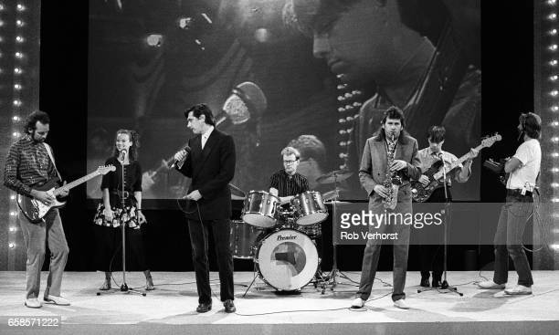 Roxy Music perform with Patty Zomer from Dutch girlband Dolly Dots as a stand in while rehearsing for the TV show 'Footballer Of The Year'...