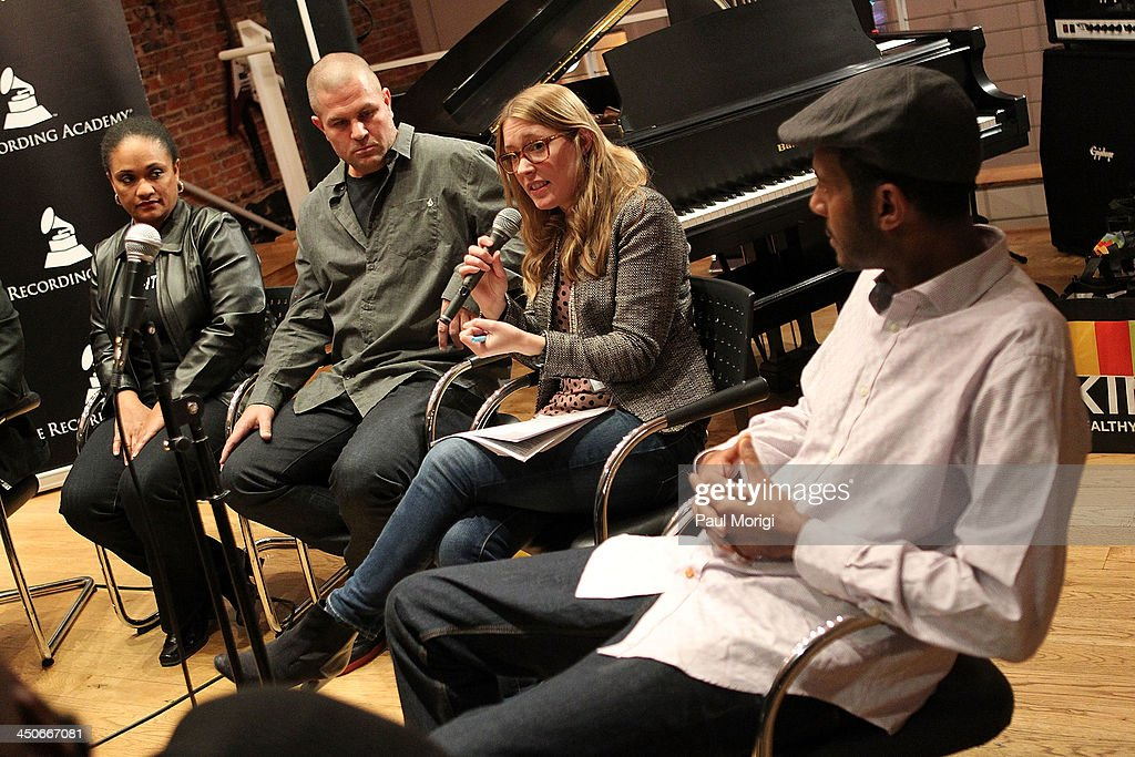 Roxy Philson, Global Creative Director at ONE, participates in a panel of brand representatives and artists to discuss the growing affiliations between bands and brands at Business, Beats and Inspiration: Bands & Brands at The Gibson Guitar Center on November 19, 2013 in Washington, DC.