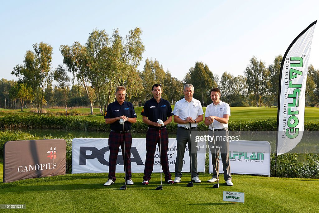 Roy Arnold (L) and Richard O'Hanlon of Point of Polzeath Golf Club along with Ian Neal and Ian Walley (R) of Kedleston Park Golf Club pose for a photograph on the PGA Sultan Course during day one of The Golfplan Insurance Pro Captain Challenge final at Antalya Golf Club on November 21, 2013 in Antalya, Turkey.