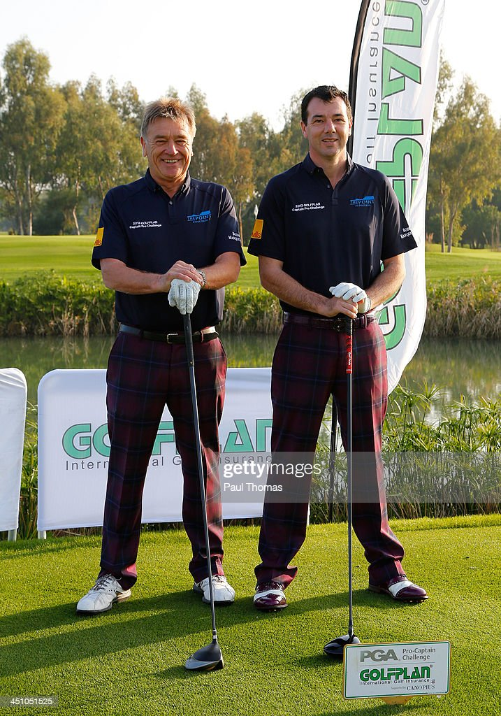 Roy Arnold (L) and Richard O'Hanlon of Point of Polzeath Golf Club pose for a photograph on the PGA Sultan Course during day one of The Golfplan Insurance Pro Captain Challenge final at Antalya Golf Club on November 21, 2013 in Antalya, Turkey.