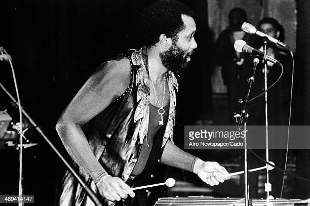 Roy Ayers musician playing the xylophone on stage 1970