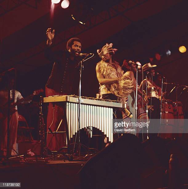 Roy Ayers US funk soul and jazz composer and vibraphone player during a live concert performance circa 1975