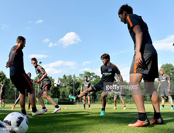 Roy Beerens Julius Kade Hosogai Hajime and Genki Haraguchi during the training of Hertha BSC on July 5 2016 in Bad Saarow Germany