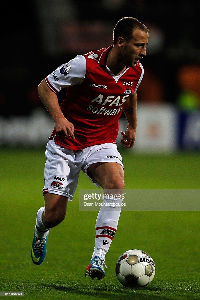 Roy Beerens of AZ in action during the Eredivisie match between AZ Alkmaar and PSV Eindhoven at the AFAS Stadium on April 20, 2013 in Alkmaar, Netherlands.