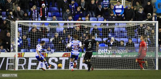 Roy Beerens scores Readings third goal during the Sky Bet Championship match between Reading and Brentford at Madejski Stadium on February 14 2017 in...
