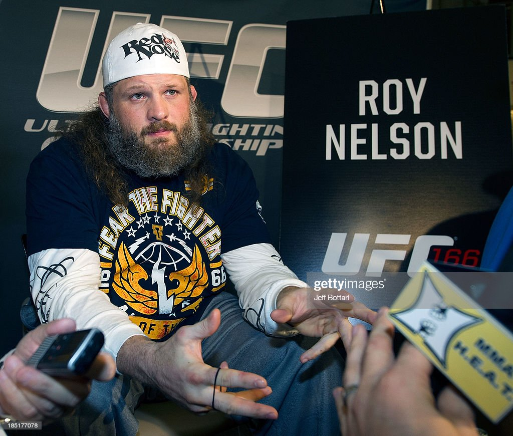 Roy 'Big Country' Nelson speaks with the media during the UFC 166 Ultimate Media Day at the Toyota Center on October 16, 2013 in Houston, Texas.