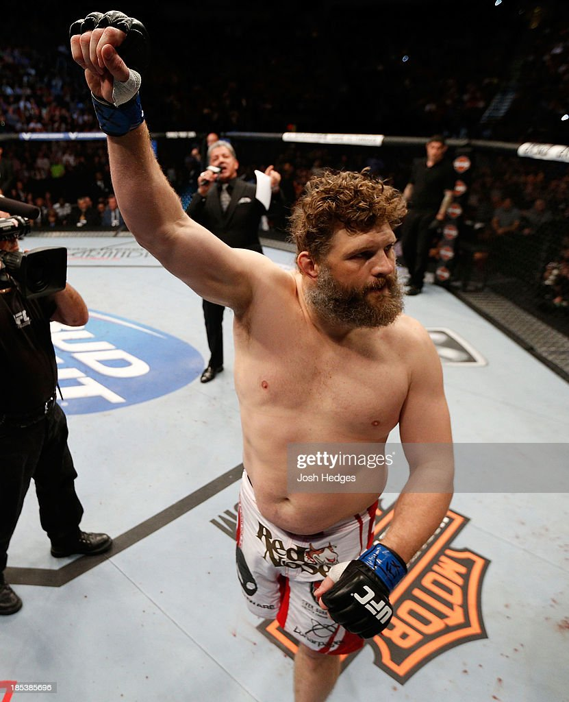 Roy 'Big Country' Nelson waves to the crowd before facing Daniel Cormier in their UFC heavyweight bout at the Toyota Center on October 19 2013 in...