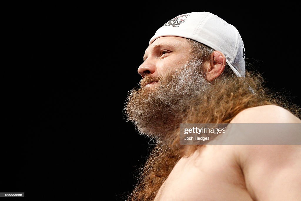 Roy 'Big Country' Nelson weighs in during the UFC 166 weigh-in event at the Toyota Center on October 18, 2013 in Houston, Texas.