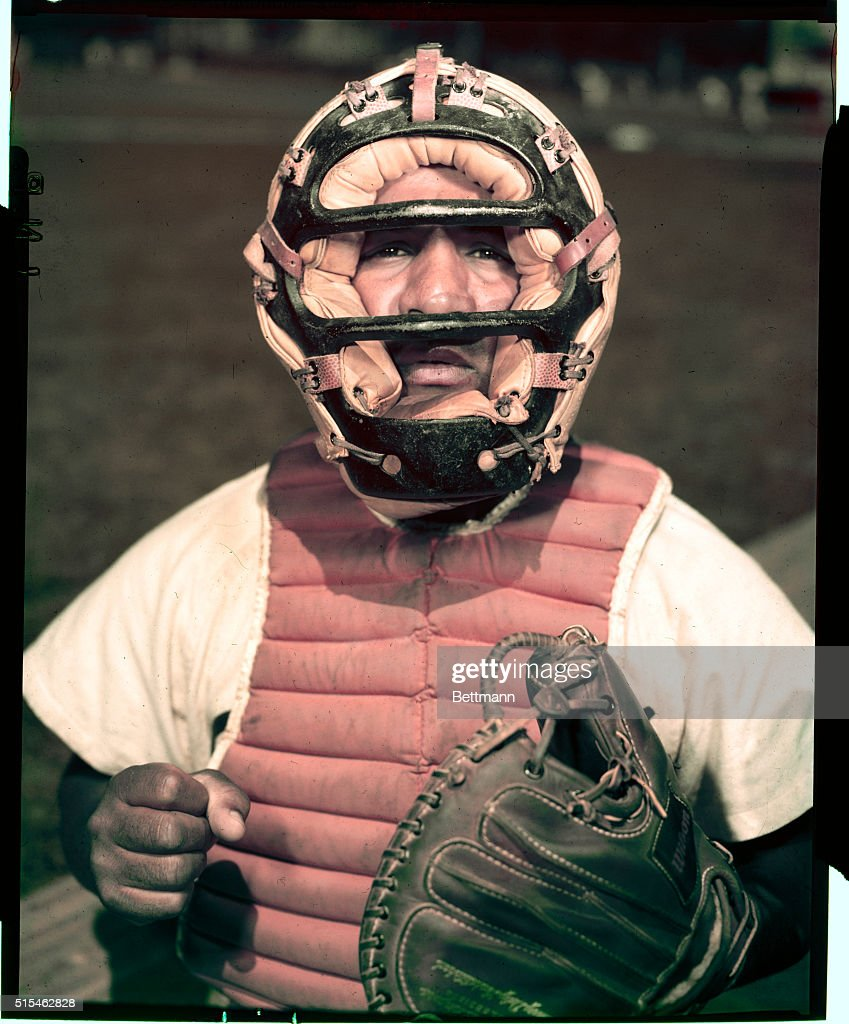 3/31/1953- Roy Campanella of the Brooklyn Dodgers, closeups with or without mask.