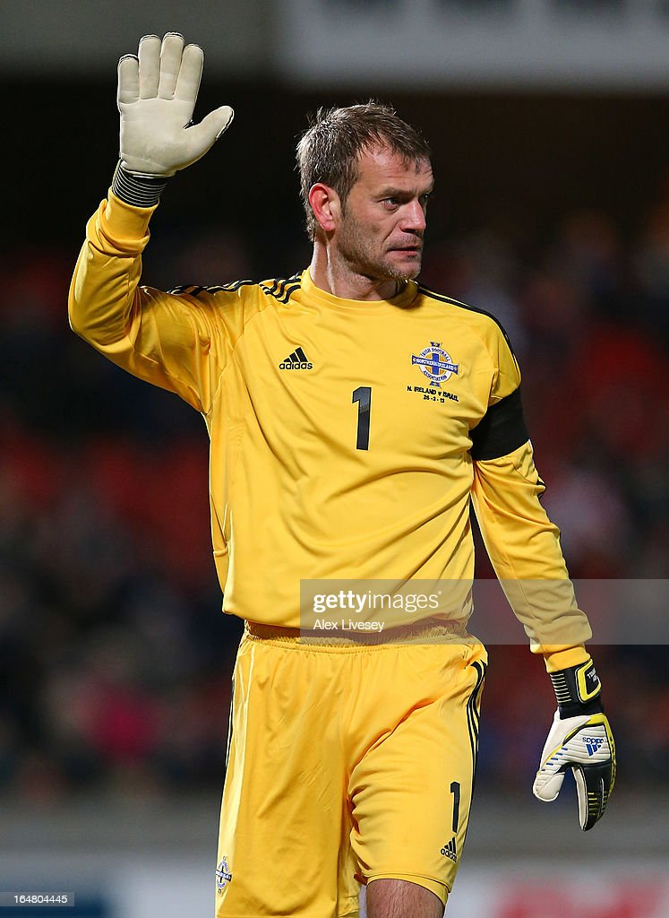 <a gi-track='captionPersonalityLinkClicked' href=/galleries/search?phrase=Roy+Carroll&family=editorial&specificpeople=206286 ng-click='$event.stopPropagation()'>Roy Carroll</a> of Northern Ireland during the FIFA 2014 World Cup Group F Qualifier match between Northern Ireland and Israel at Windsor Park on March 26, 2013 in Belfast, Northern Ireland.