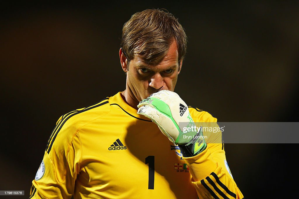 <a gi-track='captionPersonalityLinkClicked' href=/galleries/search?phrase=Roy+Carroll&family=editorial&specificpeople=206286 ng-click='$event.stopPropagation()'>Roy Carroll</a> of Northern Ireland looks on during the FIFA 2014 World Cup Qualifying Group F match between Northern Ireland and Portugal at Windsor Park on September 6, 2013 in Belfast, Northern Ireland.