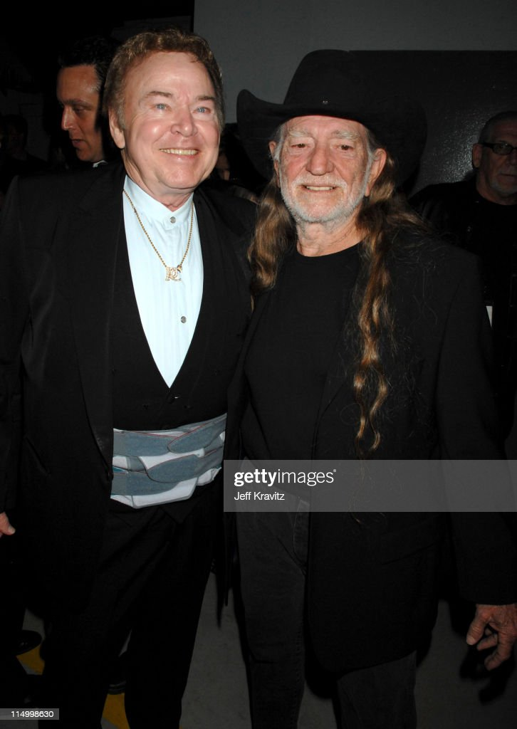 Roy Clark and Willie Nelson during 5th Annual TV Land Awards - Backstage at Barker Hangar in Santa Monica, California, United States.