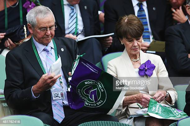 Roy Emerson and Joy Emerson in the Royal Box on Centre Court before the Gentlemen's Singles Final match between Roger Federer of Switzerland and...