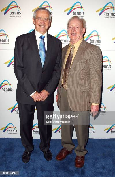Roy Emerson and Rod Laver attend the annual Legends' Lunch at the Grand Hyatt during day thirteen of the 2013 Australian Open at Melbourne Park on...