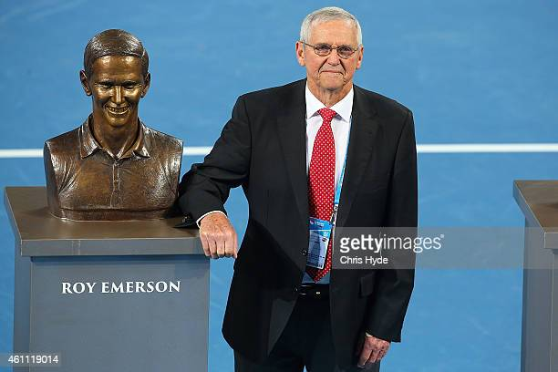 Roy Emerson is named an Icon of Queensland Tennis stands next to his commemorative busts during a special oncourt ceremony during day four of the...