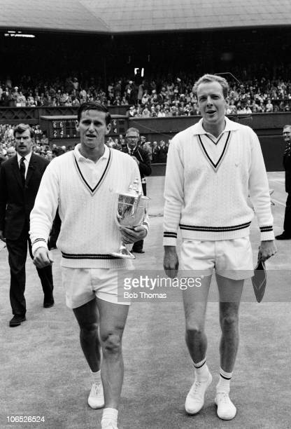 Roy Emerson leaves centre court after defeating Fred Stolle 62 64 64 in the men's singles final at the All England Lawn Tennis Club at Wimbledon in...