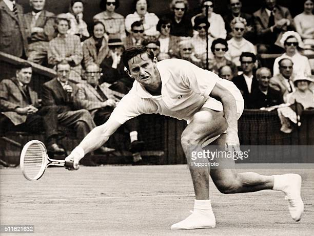Roy Emerson of Australia in action at Wimbledon circa June 1965