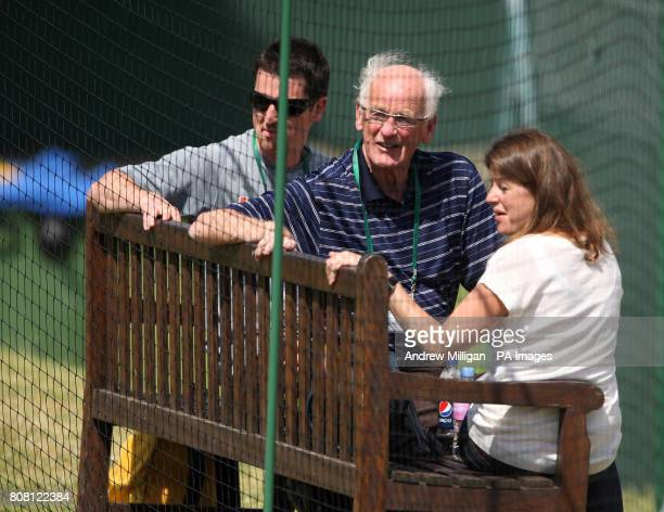 Roy Erskine grandfather of Great Britain's andy Murray watches him practice during Day Eight of the 2010 Wimbledon Championships at the All England...