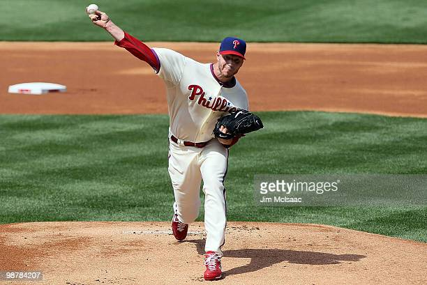 Roy Halladay of the Philadelphia Phillies delivers a pitch against the New York Mets at Citizens Bank Park on May 1 2010 in Philadelphia Pennsylvania