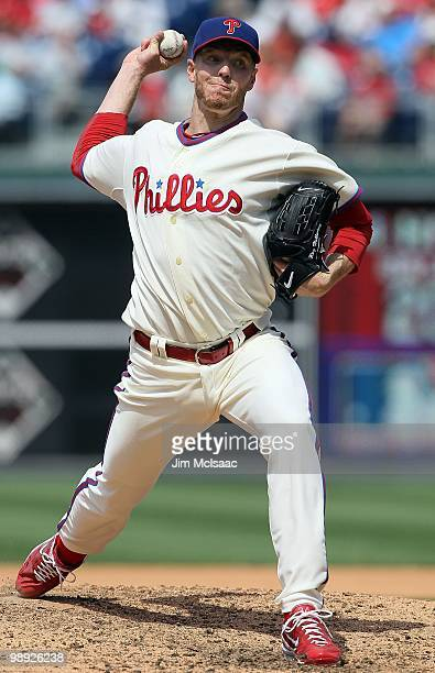 Roy Halladay of the Philadelphia Phillies delivers a pitch against the St Louis Cardinals at Citizens Bank Park on May 6 2010 in Philadelphia...