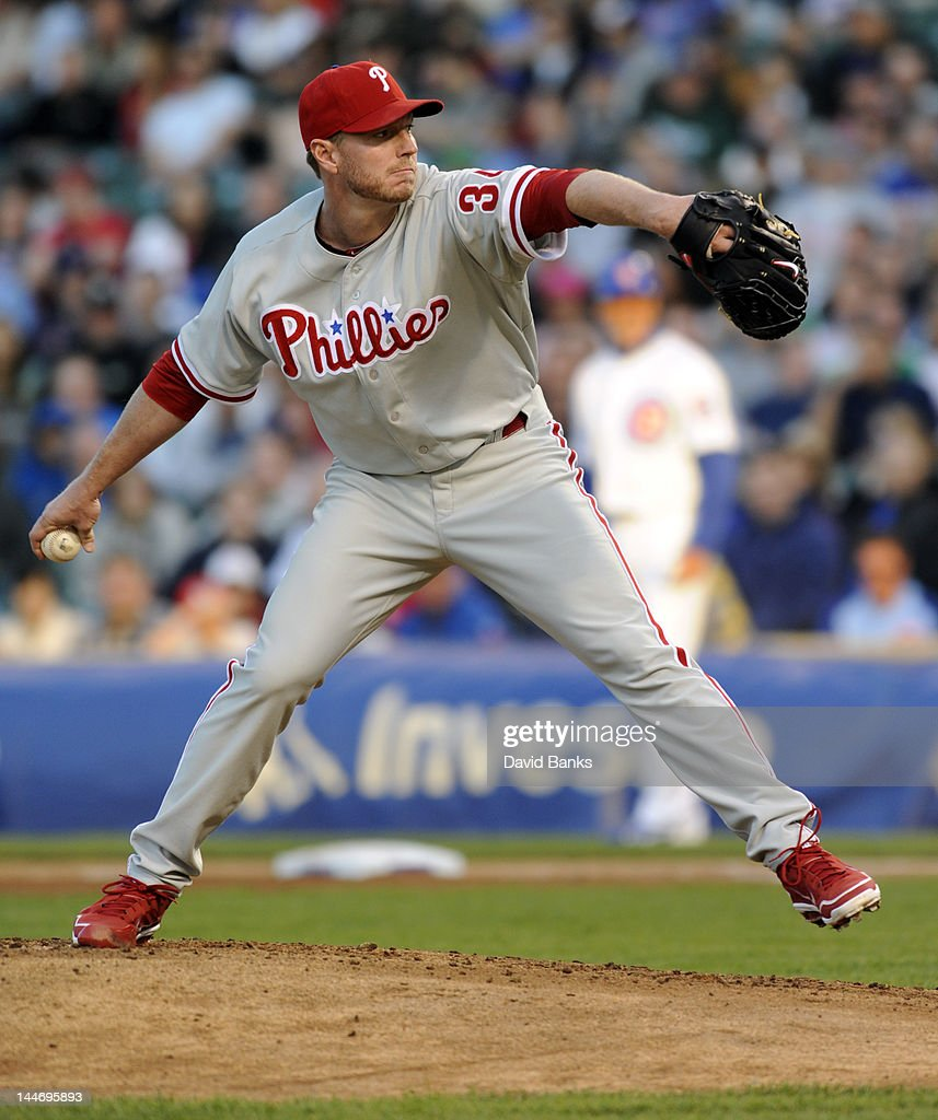<a gi-track='captionPersonalityLinkClicked' href=/galleries/search?phrase=Roy+Halladay&family=editorial&specificpeople=208782 ng-click='$event.stopPropagation()'>Roy Halladay</a> #34 of the Philadelphia Phillies pitches against the Chicago Cubs in the first inning on May 17, 2012 at Wrigley Field in Chicago, Illinois.