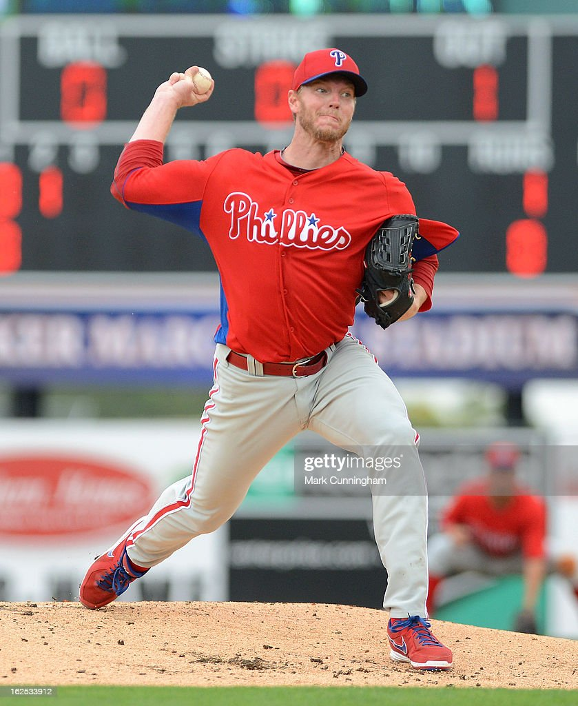 <a gi-track='captionPersonalityLinkClicked' href=/galleries/search?phrase=Roy+Halladay&family=editorial&specificpeople=208782 ng-click='$event.stopPropagation()'>Roy Halladay</a> #34 of the Philadelphia Phillies pitches against the Detroit Tigers during the spring training game at Joker Marchant Stadium on February 24, 2013 in Lakeland, Florida. The game ended in a 10 inning 5-5 tie.
