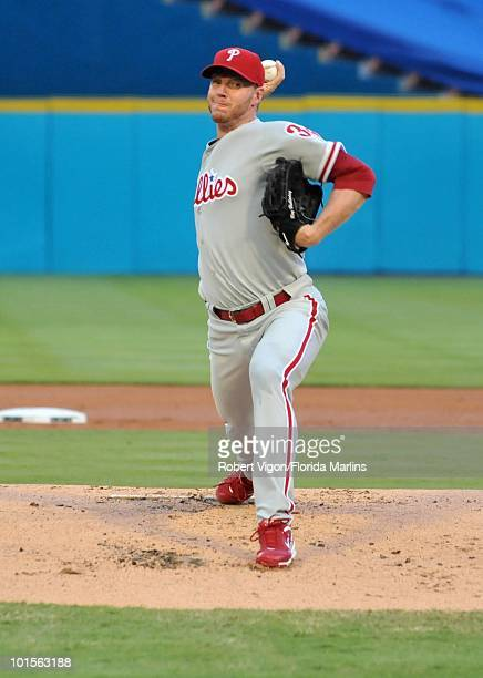 Roy Halladay of the Philadelphia Phillies pitches during the game against the Florida Marlins at Sun Life Stadium on Saturday May 29 in Miami Florida...