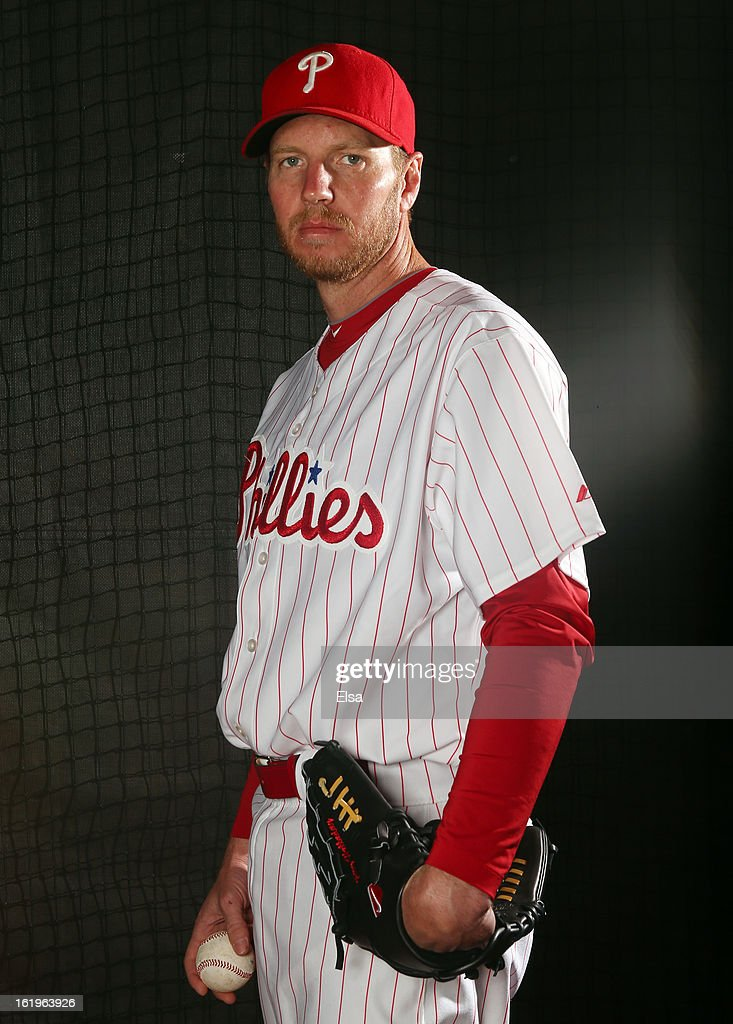 <a gi-track='captionPersonalityLinkClicked' href=/galleries/search?phrase=Roy+Halladay&family=editorial&specificpeople=208782 ng-click='$event.stopPropagation()'>Roy Halladay</a> #34 of the Philadelphia Phillies poses for a portrait on February 18, 2013 at Bright House Field in Clearwater, Florida.