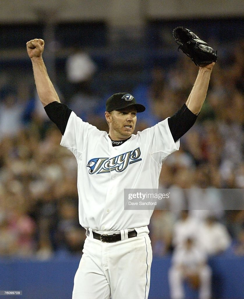 Roy Halladay #32 of the Toronto Blue Jays celebrates his complete game win against the Los Angeles Angels of Anaheim on August 14, 2007 at the Rogers Centre in Toronto, Ontario, Canada.