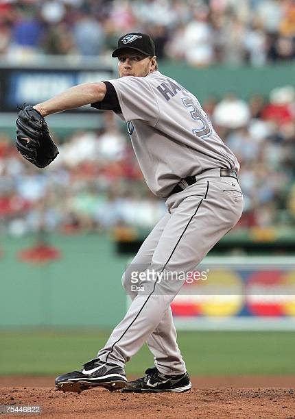 Roy Halladay of the Toronto Blue Jays delivers a pitch in the first inning against the Boston Red Sox at Fenway Park July 12 2007 in Boston...