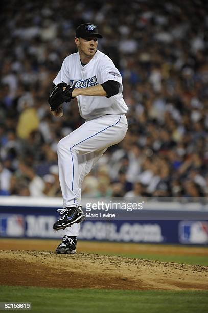 Roy Halladay of the Toronto Blue Jays pitches during the 79th MLB AllStar Game at the Yankee Stadium in the Bronx New York on July 15 2008 The...