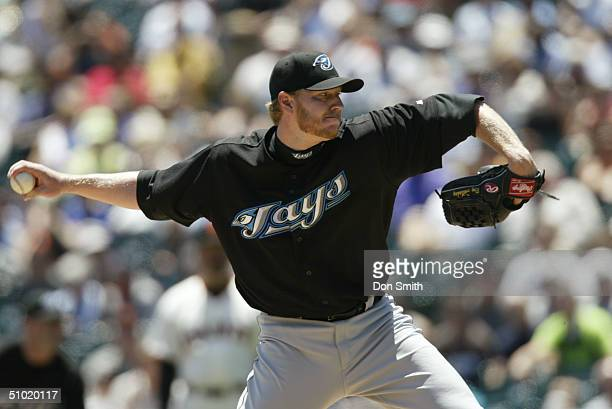 Roy Halladay of the Toronto Blue Jays pitches during the MLB game against the San Francisco Giants on June 17 2004 at SBC Park in San Francisco...
