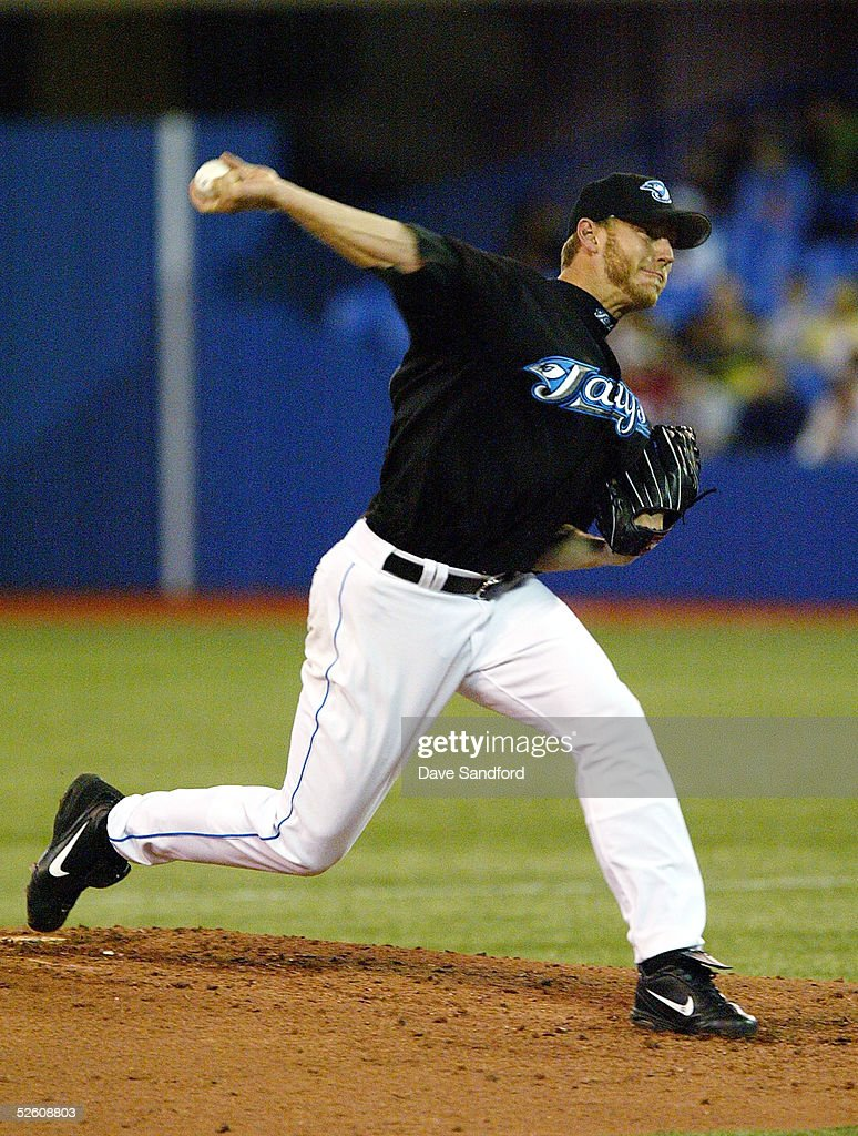 Roy Halladay #32 of the Toronto Blue Jays throws a pitch against the Boston Red Sox during the game at Rogers Centre on April 9, 2005 in Toronto, Ontario, Canada.
