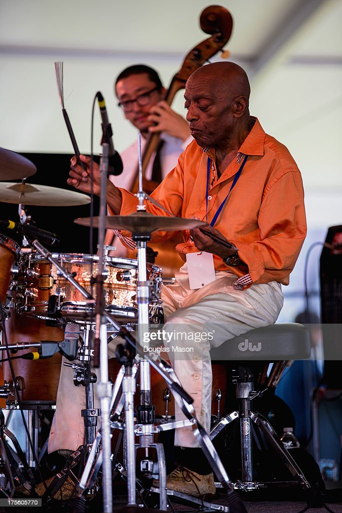 <a gi-track='captionPersonalityLinkClicked' href=/galleries/search?phrase=Roy+Haynes&family=editorial&specificpeople=873496 ng-click='$event.stopPropagation()'>Roy Haynes</a> performs during the Newport Jazz Festival 2013 at Fort Adams State Park on August 4, 2013 in Newport, Rhode Island.