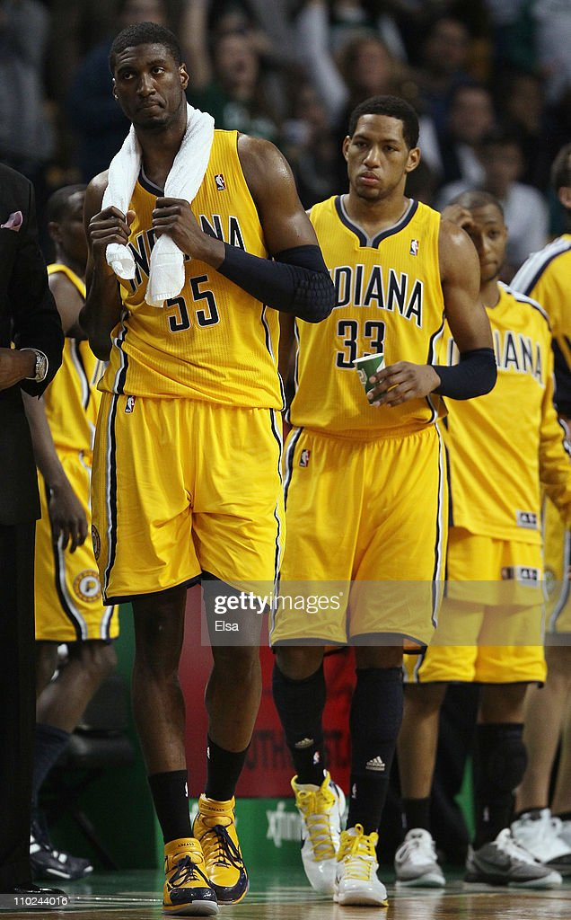 <a gi-track='captionPersonalityLinkClicked' href=/galleries/search?phrase=Roy+Hibbert&family=editorial&specificpeople=725128 ng-click='$event.stopPropagation()'>Roy Hibbert</a> #55 and <a gi-track='captionPersonalityLinkClicked' href=/galleries/search?phrase=Danny+Granger&family=editorial&specificpeople=553769 ng-click='$event.stopPropagation()'>Danny Granger</a> #33 of the Indiana Pacers react after the game against the Boston Celtics on March 16, 2011 at the TD Garden in Boston, Massachusetts. The Celtics defeated the Indiana Pacers 92-80.