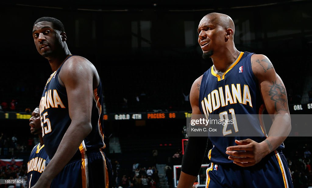 Roy Hibbert #55 and David West #21 of the Indiana Pacers walk off the court after their 89-86 loss to the Atlanta Hawks at Philips Arena on November 7, 2012 in Atlanta, Georgia.
