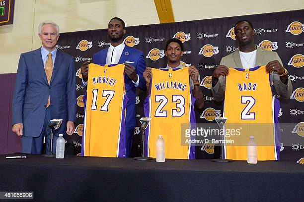 Roy Hibbert Louis Williams and Brandon Bass of the Los Angeles Lakers are introduced to the media by General Manager Mitch Kupchak at Toyota Sports...