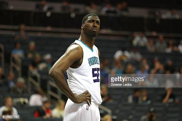 Roy Hibbert of the Charlotte Hornets reacts to a call during their game against the Miami Heat at Spectrum Center on October 20 2016 in Charlotte...