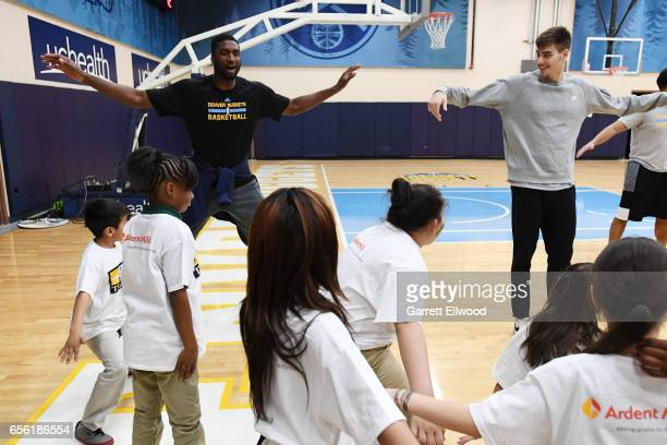 Roy Hibbert of the Denver Nuggets participates in a Team Fit event on March 17 2016 at the Pepsi Center in Denver Colorado NOTE TO USER User...