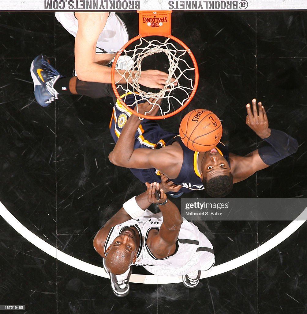 Roy Hibbert #55 of the Indiana Pacers and Kevin Garnett #2 of the Brooklyn Nets during a game at Barclays Center on November 9, 2013 in the Brooklyn borough of New York City.