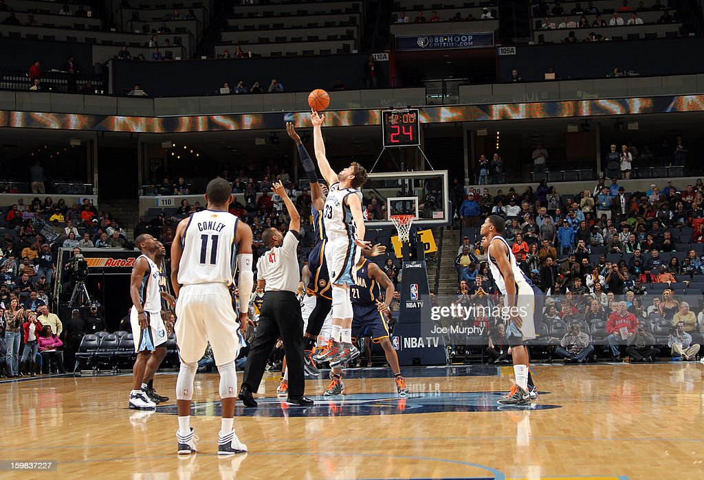 Roy Hibbert #55 of the Indiana Pacers and Marc Gasol #33 of the Memphis Grizzlies battle for the opening tip off on January 21, 2013 at FedExForum in Memphis, Tennessee.