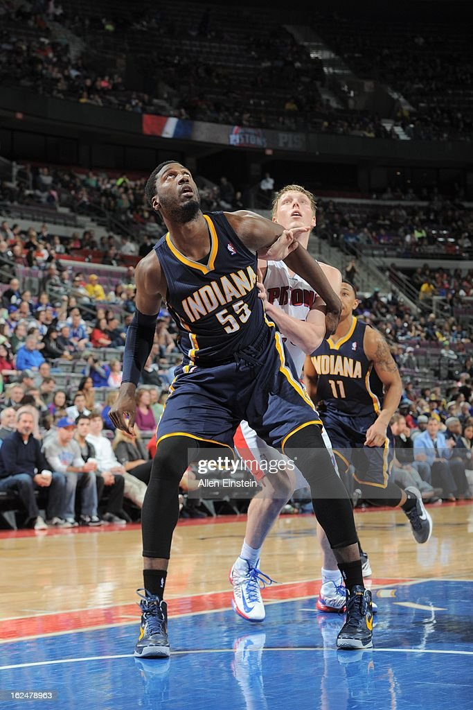 <a gi-track='captionPersonalityLinkClicked' href=/galleries/search?phrase=Roy+Hibbert&family=editorial&specificpeople=725128 ng-click='$event.stopPropagation()'>Roy Hibbert</a> #55 of the Indiana Pacers battles for positioning against <a gi-track='captionPersonalityLinkClicked' href=/galleries/search?phrase=Kyle+Singler&family=editorial&specificpeople=4216029 ng-click='$event.stopPropagation()'>Kyle Singler</a> #25 of the Detroit Pistons on February 23, 2013 at The Palace of Auburn Hills in Auburn Hills, Michigan.