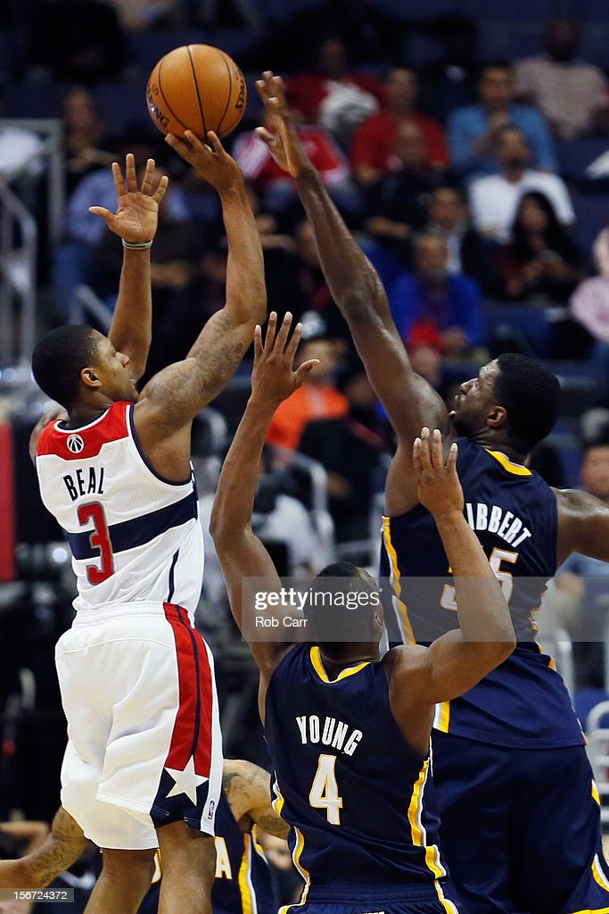 Roy Hibbert #55 of the Indiana Pacers blocks a shot by Bradley Beal #3 of the Washington Wizards durng the second half of the Pacers 96-89 win at Verizon Center on November 19, 2012 in Washington, DC.