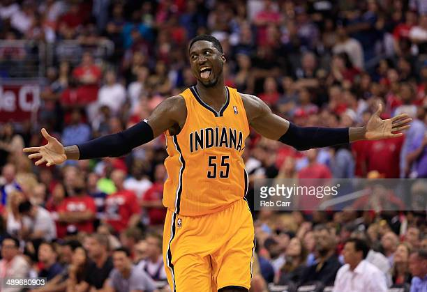 Roy Hibbert of the Indiana Pacers celebrates after scoring a basket late in the fourth quarter of the Pacers 9592 win over the Washington Wizards...